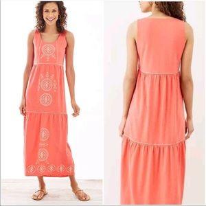 J-Jill Coral Embroidered Sequin Maxi Dress Medium